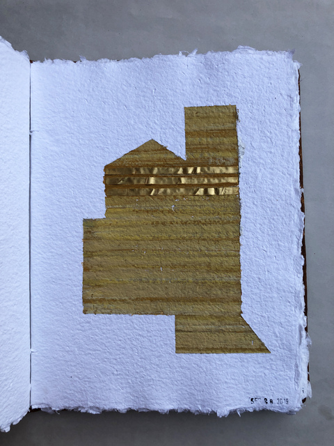 THE THIRD BARN ROME STUDIES acrylic on handmade paper bound in book with gold foil