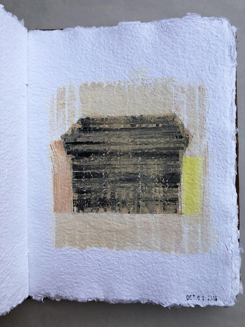 THE THIRD BARN ROME STUDIES acrylic on handmade paper bound in book
