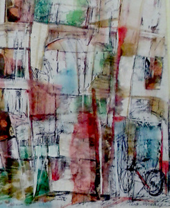 "Tina Grondin  ""Save As"" watercolor, mixed media collage on paper"