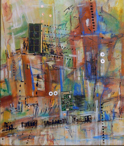 "Tina Grondin  ""Save As"" oil/ mixed media collage on canvas"