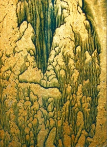 Tina Seligman Hatsuboku: Exfoliation (2008) block printing ink on metallic Chinese paper joss