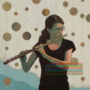 Tina Seligman Solar Lunar Suite for flute, harp, piano & eye Oil on canvas