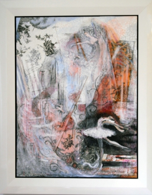 Tina Seligman Movement acrylic, graphite, charcoal, sheet music, wood, toile, tulle, lace on canvas