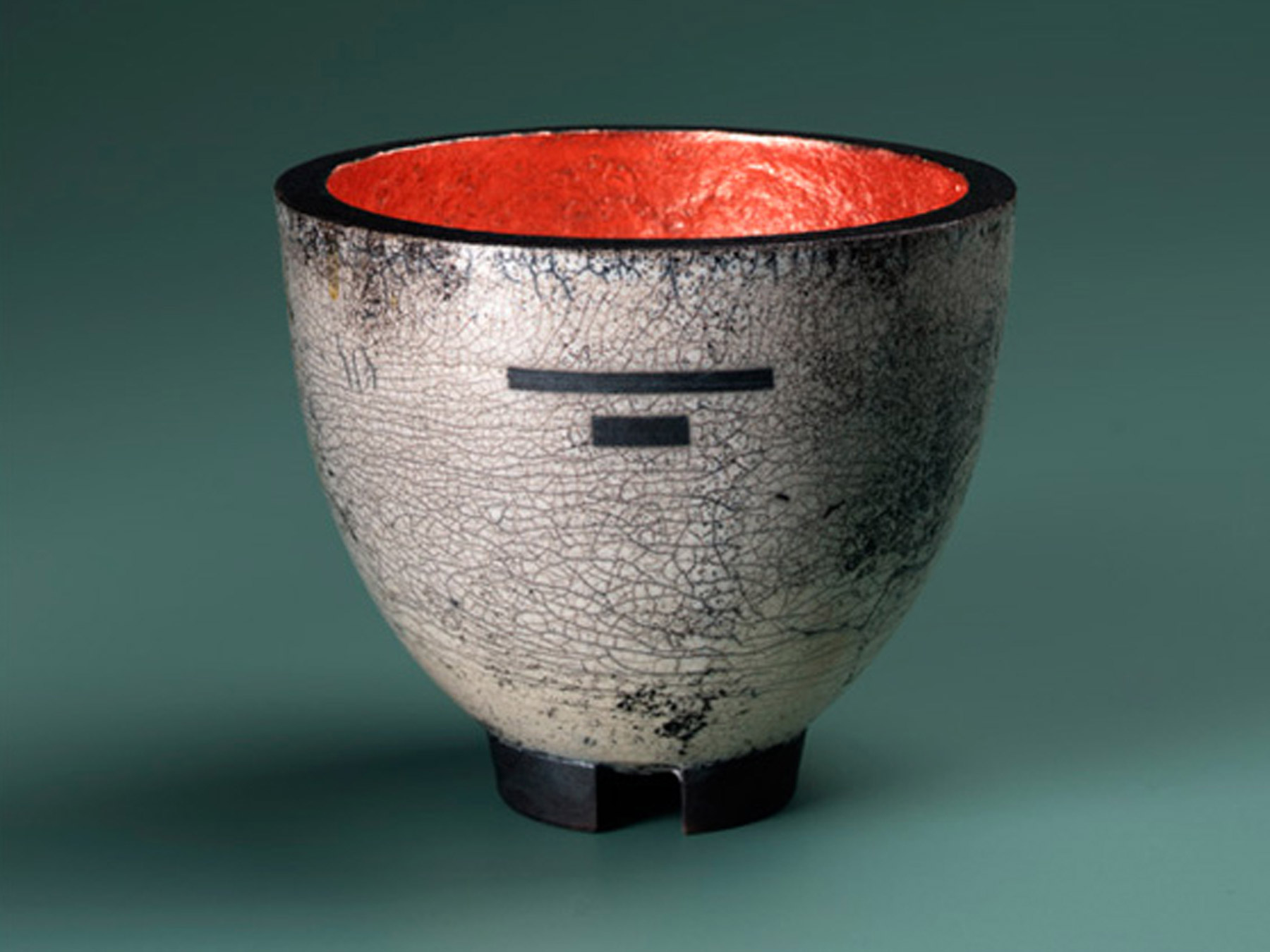 TOM HUBBARD CERAMICS Raku fired with resist and copper leaf