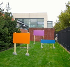 Tom McGlynn Social Sculpture Projects Alkyd Paint, wood and concrete