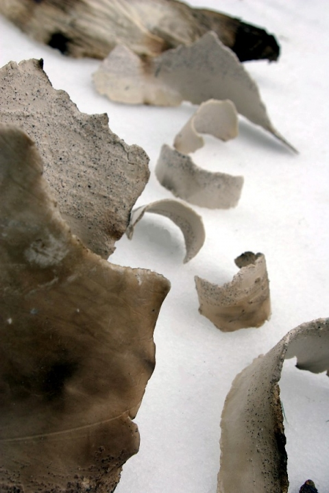 Tomoko Amaki Abe 2007 smoked fire clay, glaze, beach sand