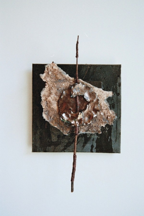 Tomoko Amaki Abe 2006 paper clay, glaze, wood, hemp string