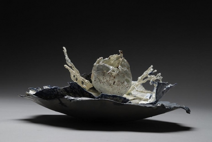 Tomoko Amaki Abe 2008 paper clay, oxides, glazes, cotton, burlap
