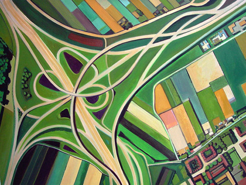 Toni Silber-Delerive Aerialscapes oil on canvas