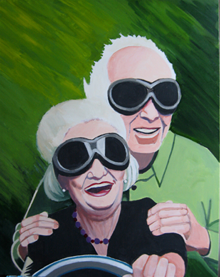 Figurative Speeding Older Couple