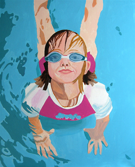 Figurative Girl in Swimming Pool