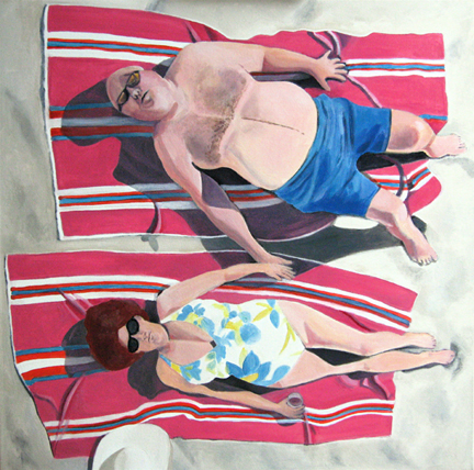 Figurative Sunbathing on the Beach SOLD