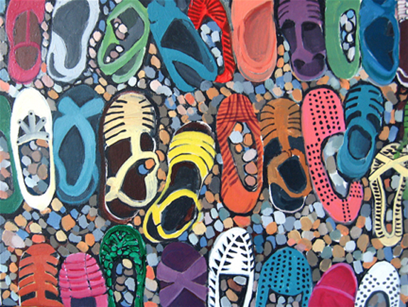 Figurative Shoes on the Beach SOLD