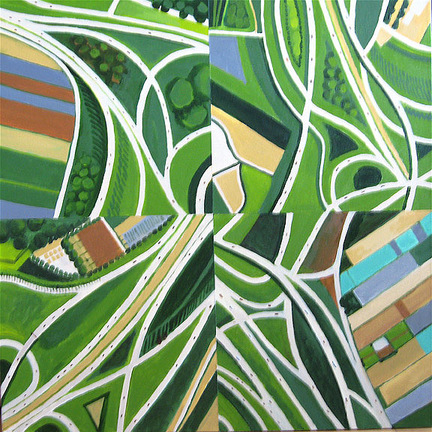 Aerialscapes Green Intersections, Quartered