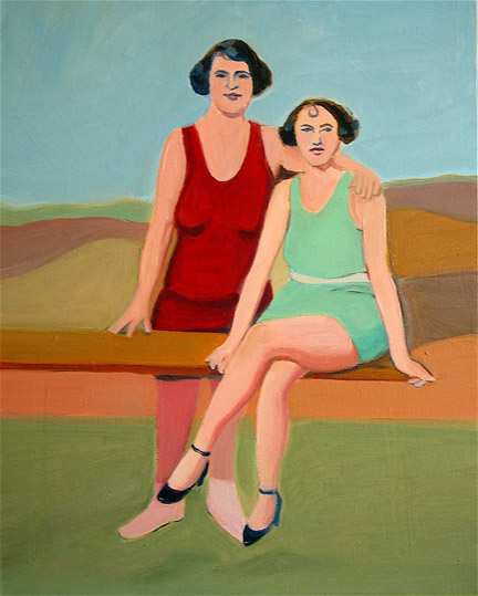 Figurative Eva and Lilly at the Beach SOLD