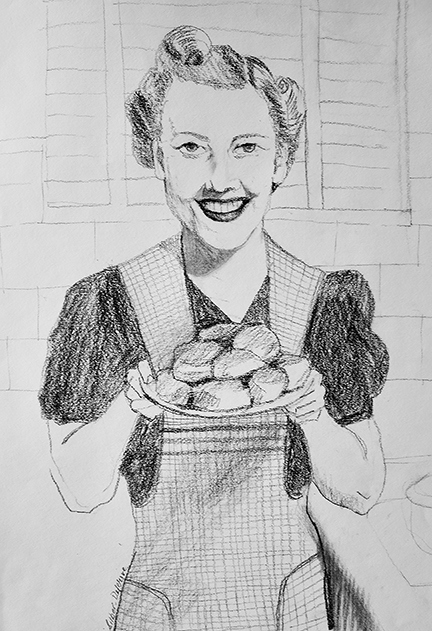 Figurative Homemaker with Biscuits