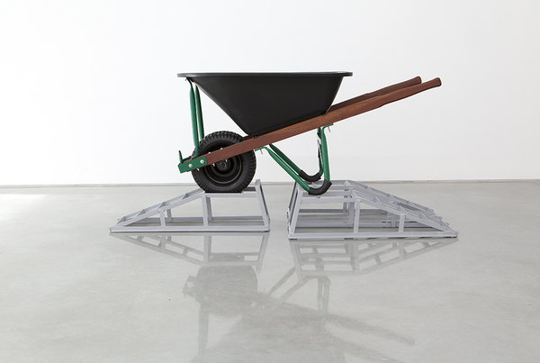 TONY SCHWENSEN Historical Revisionism Or: How I Learnt to Stop Worrying & Embrace Australian Values 2015 Sarah Cottier Gallery, Sydney, Australia Primed Car Stands, Wheelbarrow