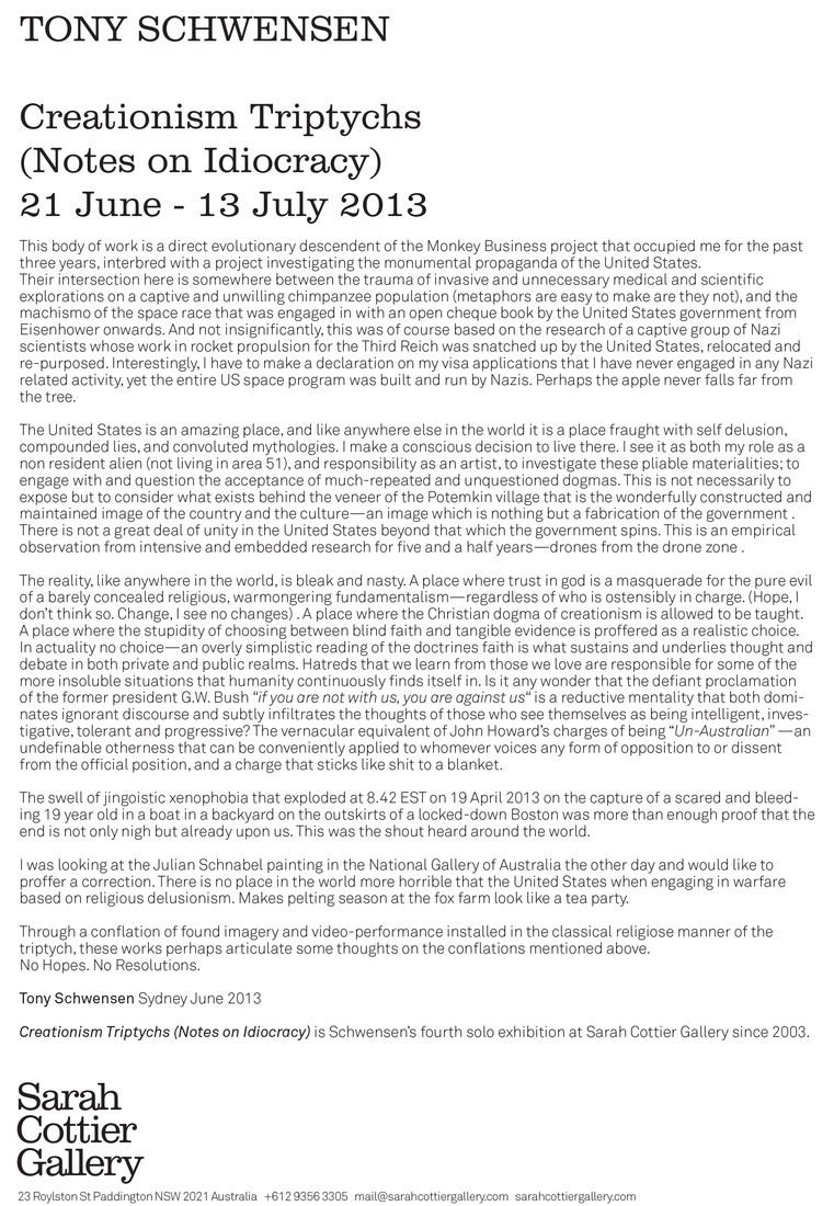 Creationism Triptychs (Notes on Idiocracy) 2013 Press Release