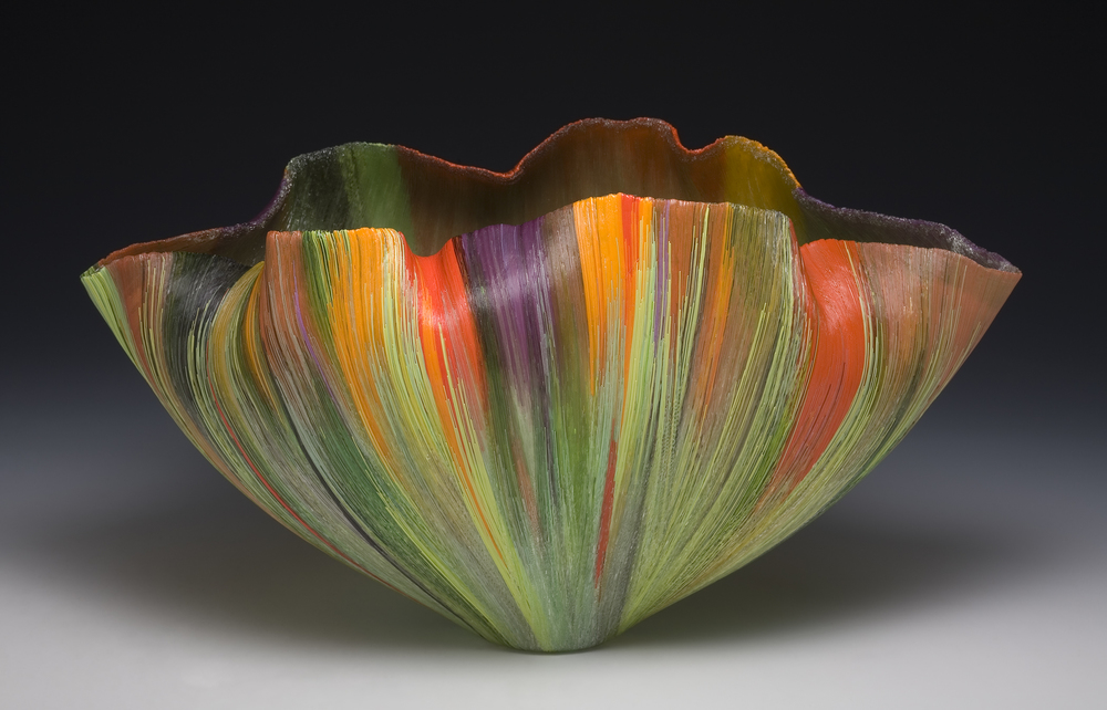 Toots Zynsky Recent Works Filet-de-Verre Fused and thermo formed colored glass threads