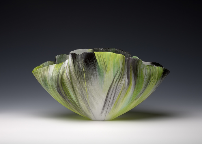 Toots Zynsky Recent Works Filet-de-Verre, fused and thermoformed colored glass threads