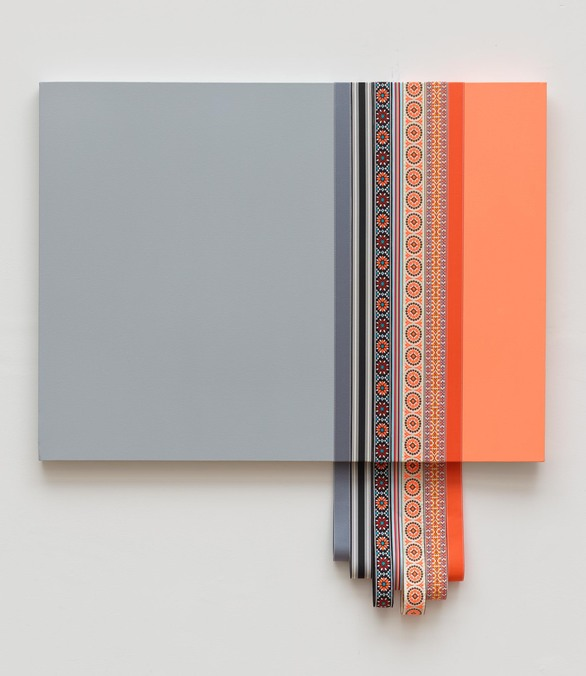 Tricia Wright Dimensional Work acrylic on canvas, fabric ribbon