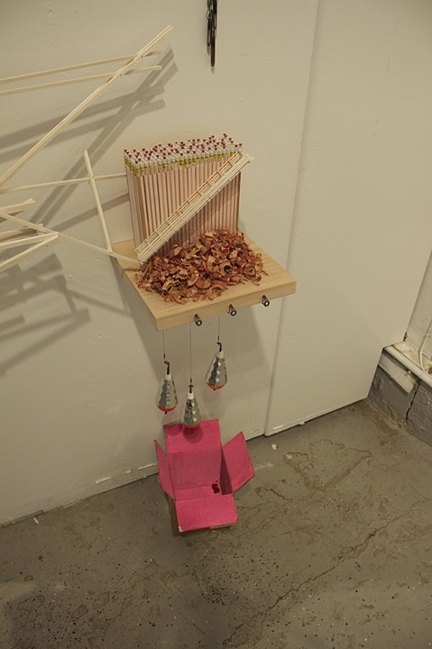 Tricky Walsh Subterranean pencils pins, balsa wood, glass beads, paint cardboard, floats