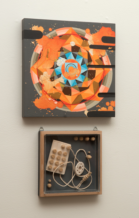 Tricky Walsh Dirty Geometry (paintings) Gouache on board, Balsa wood, acrylic