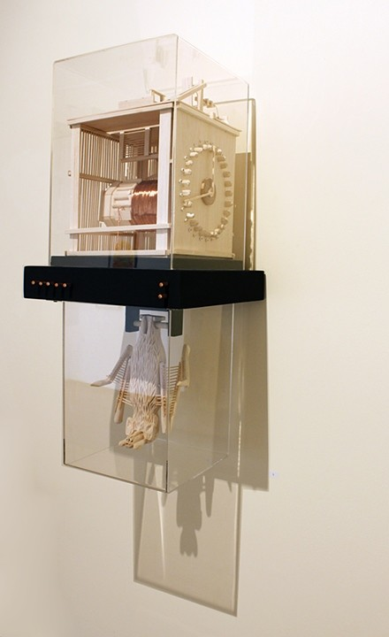 Tricky Walsh science fictions balsa wood, copper wire, geode, pins, plywood & acrylic box