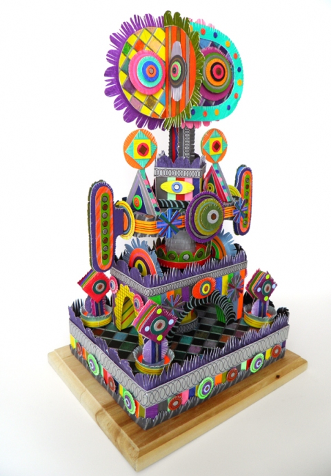MICHAEL VELLIQUETTE Early Paper Sculpture Paper, acrylic, drawing media