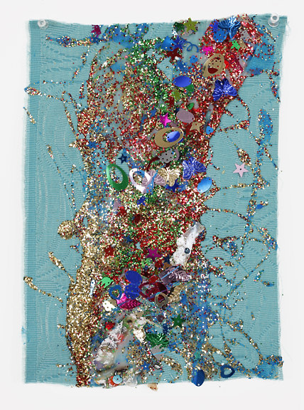 Victor Davson Jhandi Flags Glitter, sequins, and acrylic on fabric