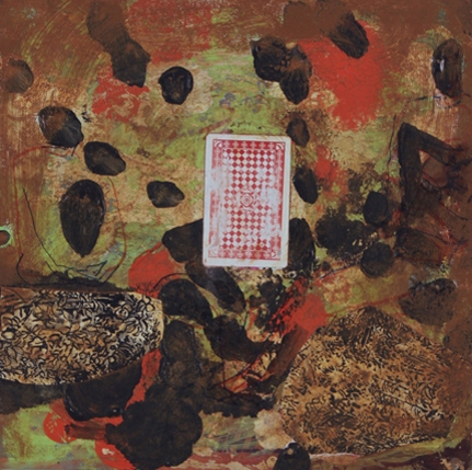 Victor Davson This Twittering World Acrylic and mixed media on treated LP vinyl record album cover