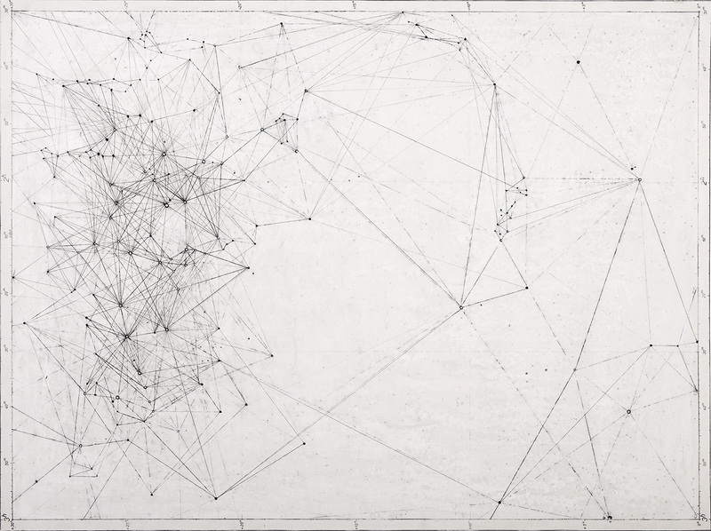 Graphs pencil, oil paint, gesso, acrylic on map