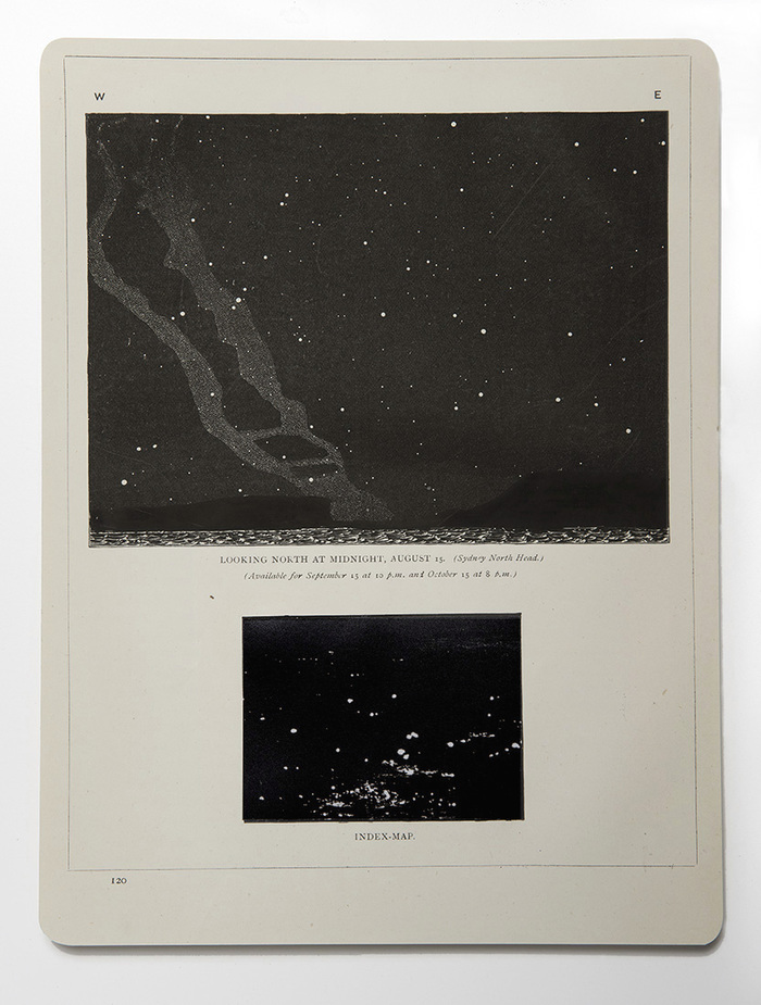 Night Maps ink and photograph on antique engraving from 1881