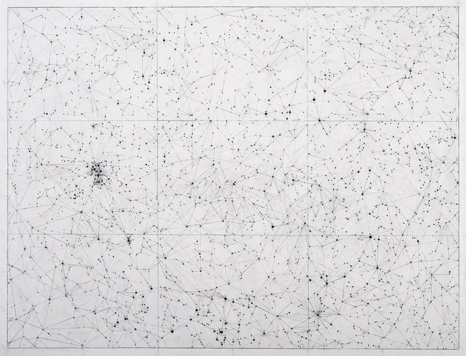 VICTORIA BURGE Graphs pencil and gesso on map