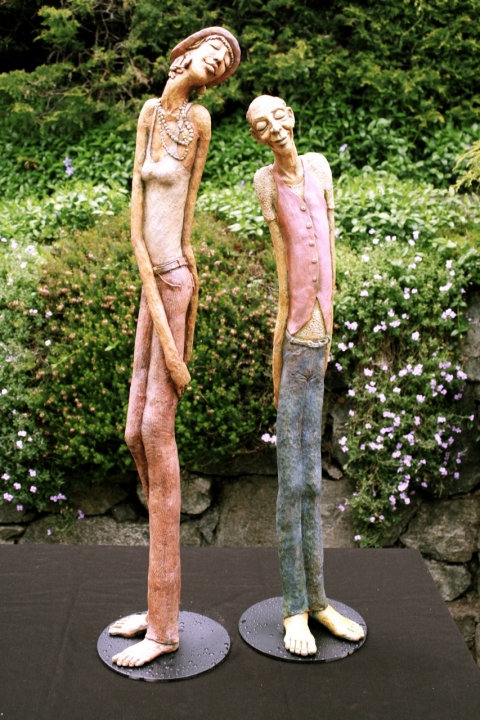 Figurative Clay Sculpture clay and acrylic stains