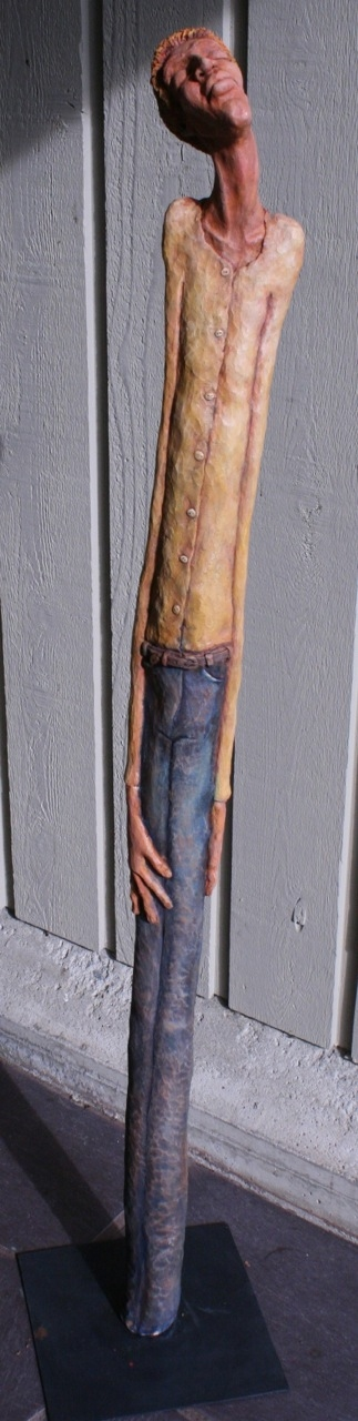 Figurative Clay Sculpture clay with acrylic stains