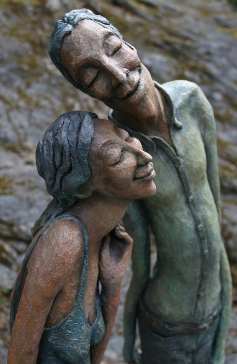 Figurative Clay Sculpture Cecil and Celeste detail