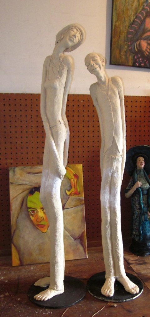 Figurative Clay Sculpture Nigel and Delilah