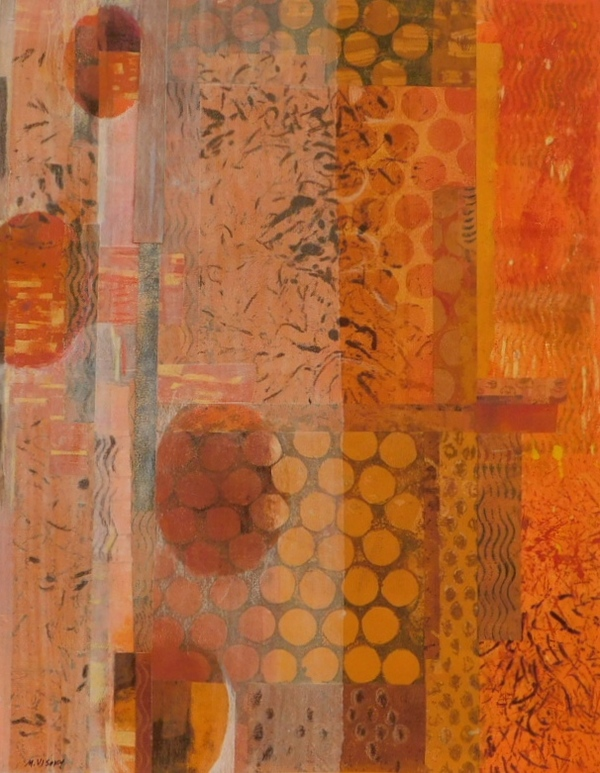 Mitchell Visoky Mixed Media Collage, monotypes, color pencil, gesso