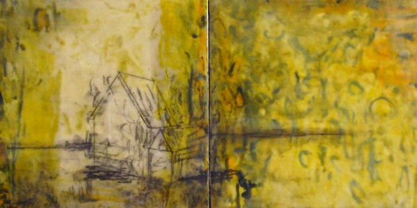 Mitchell Visoky Paintings Encaustic wax, graphite, monotype on board