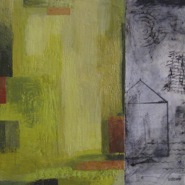 Mitchell Visoky Paintings Encaustic wax, oil stick, charcoal, toner transfer on board