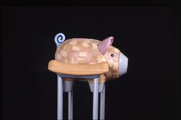 Sculpture / 3 Dimensional Works crutches, plastic pig, adhesive bandages