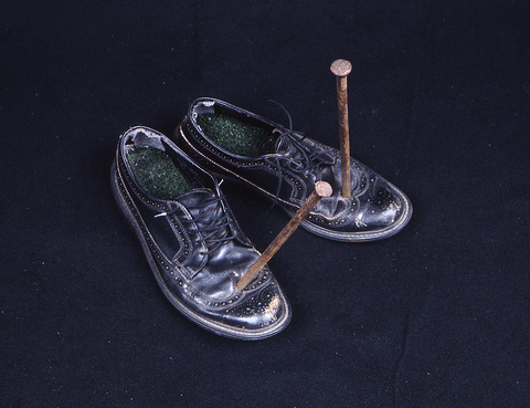Walter Kopec CURRENT EXHIBITIONS shoes, astroturf, steel nails