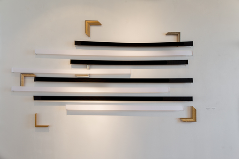 Sculpture / 3 Dimensional Works ribbon and wooden frame corners