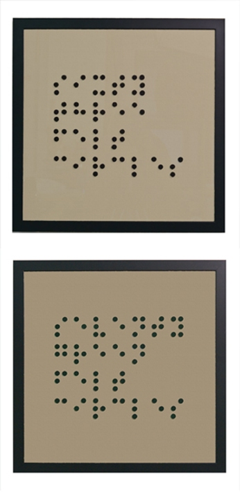 Braille Based Art See What I Say:  Sixty Three Felt Circles; Seventy Green Felt Circles