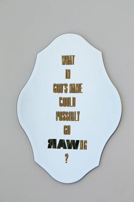 Walter Kopec Word Based Art plastic on mirror