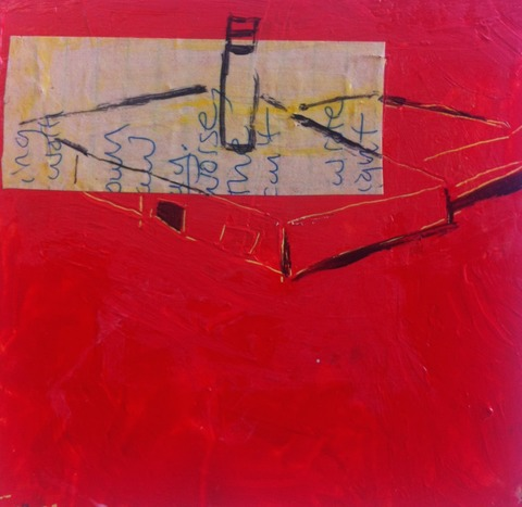 Wendy Young The Letters acrylic on masonite with collage