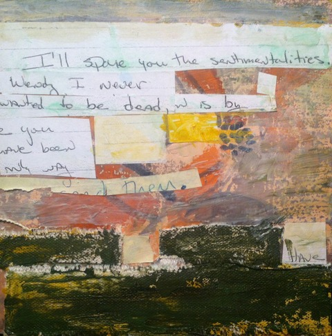 Wendy Young The Letters acrylic with collage on masonite board