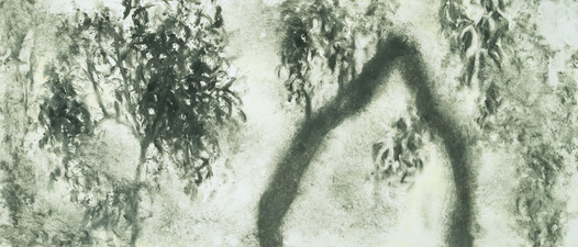 Peach Tree Shadows monotype on paper