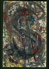 "WILLIAM C. MAXWELL  ""The Perfect Circle"" Perfect Circle:  Scrolls (Interpolator Series) 1998-2010 Charcoal, Chalk, Oil Stick, Gouache and Acrylic on Arches CP Watercolor Paper"